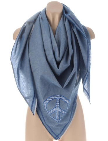 Zwillingsherz Dreieckstuch Schal jeansblau blau Peace 100% Baumwolle