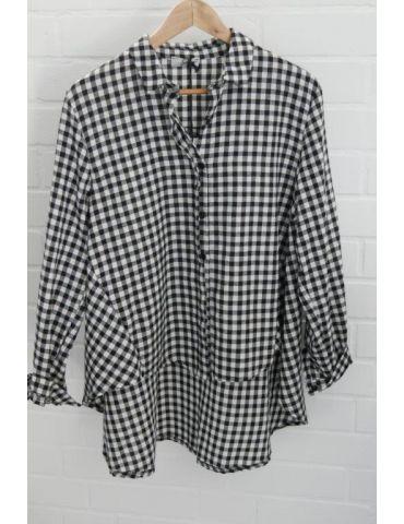 Xuna Damen Bluse schwarz weiß kleines Karo A-Form Onesize 38 - 42