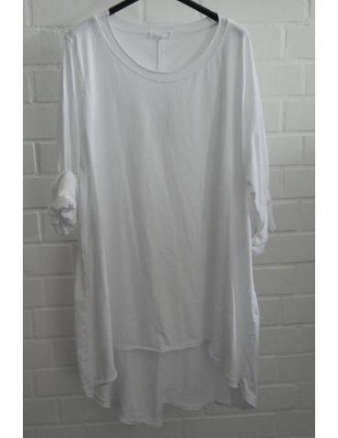 Damen Shirt langarm weiß white uni mit Baumwolle Onesize 38 - 46
