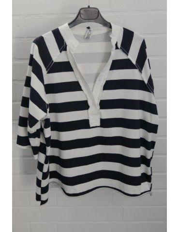 Wendy Trendy Damen Shirt 3/4 Ärmel dunkelblau weiß Blockstreifen Onesize