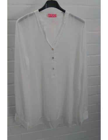 Leichte Damen Bluse langarm Viskose weiß white Onesize 36 - 40