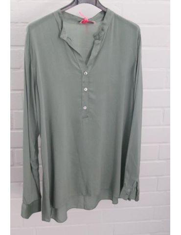 Leichte Damen Bluse langarm Viskose lindgrün grün Onesize 36 - 40
