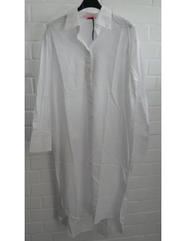 Damen Tunika Hemd Bluse Kleid weiß white Baumwolle extra lang Onesize 38 - 42