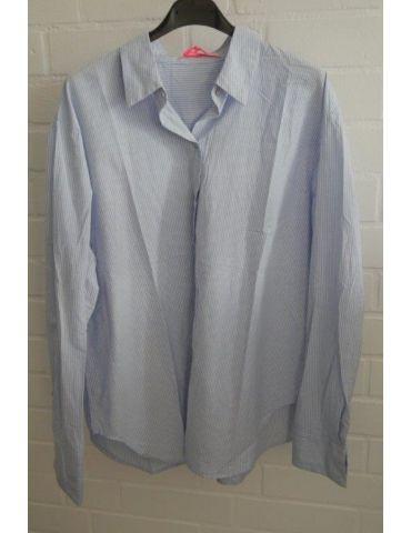 Damen Nadel Streifen Bluse langarm Baumwolle hellblau weiß Onesize 38 - 42