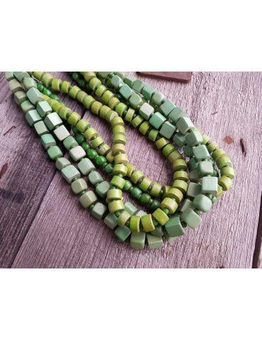 A-Zone Modeschmuck Kette Halskette Damen kurz grün Holzperlen Metall