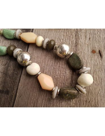 A-Zone Modeschmuck Kette Halskette Damen kurz grün altsilber beige bunt Perlen Metall Kunststoff