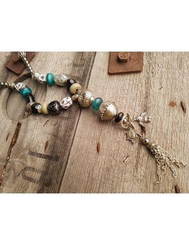 Modeschmuck Kette Damen Halskette lang schwarz altsilber grün bunt Metall Kunststoff
