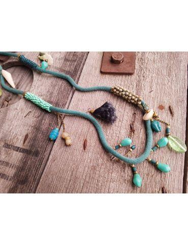 Modeschmuck Kette Damen Halskette lang grün türkis bunt Textil Kunststoff Metall