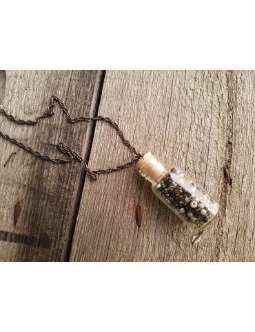 Modeschmuck Kette Damen Halskette lang Fläschchen Perlen Metall Kunststoff