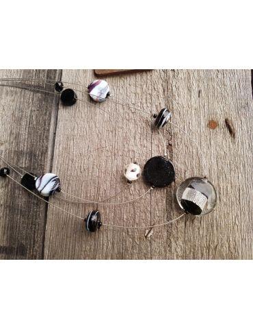Modeschmuck Draht Kette Halskette Damen kurz schwarz silber weiß Perlen Kunststoff Metall