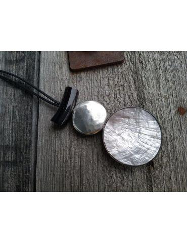 Culture Mix Modeschmuck Kette Damen Halskette lang schwarz altsilber silber Metall Textil Kunststoff