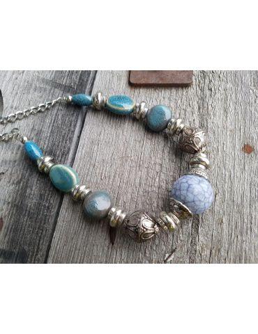 Bijoux Modeschmuck Kette Halskette Damen kurz Perlen silber grün blau bunt Kunststoff Metall