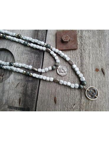 Modeschmuck Kette Damen Halskette lang hellgrau grau silber Metall Kunststoff
