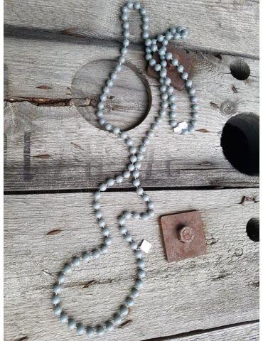 Modeschmuck Kette Damen Halskette lang grau...
