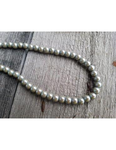Bijoux Modeschmuck Kette Halskette Damen kurz Perlen lindgrün Metall Kunststoff