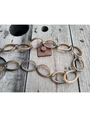 Bijoux Modeschmuck Glieder Kette Damen Halskette lang taupe braun Metall Kunststoff