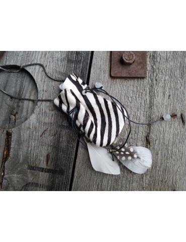 Modeschmuck Kette Damen Halskette lang schwarz weiß Zebra Metall Leder Textil