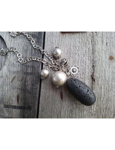 Modeschmuck Kette Damen Halskette lang schwarz altsilber Metall Kunststoff