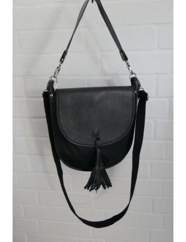 Damen Echt Leder Tasche Schultertasche schwarz black Made in Italy