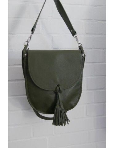 Damen Echt Leder Tasche Schultertasche khaki oliv grün Made in Italy