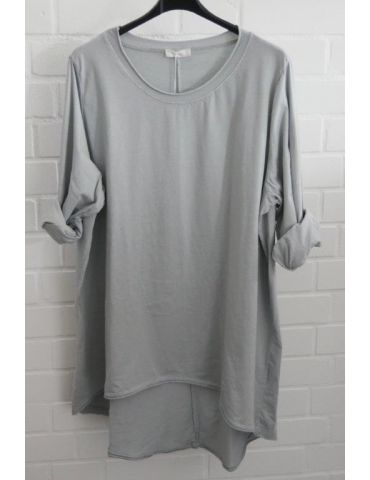 Damen Shirt langarm hellgrau uni mit Baumwolle Onesize 38 - 46