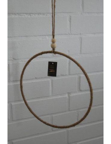Makrame Deko Ring Kordel Metall Holzperlen 28 cm