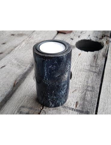 Teelicht Kerze Kunststoff schwarz weiß marmoriert groß