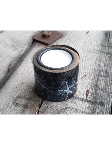Teelicht Kerze Kunststoff schwarz weiß marmoriert klein
