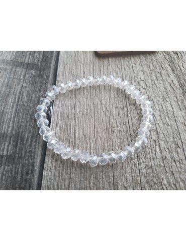 Armband Kristallarmband Perlen groß klar Glitzer Schimmer elastisch