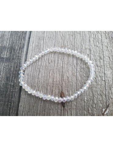 Armband Kristallarmband Perlen klar klein Glitzer Schimmer elastisch