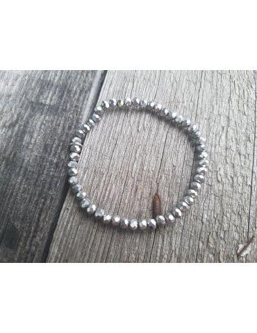 Armband Kristallarmband Perlen klein silber silver Glitzer Schimmer elastisch