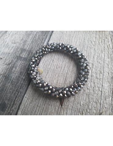Bijoux Armband Kristallarmband Perlen dick anthrazit grau Glanz Schimmer elastisch