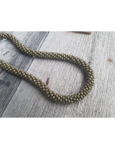 Bijoux Damen Modeschmuck Kette Halskette Kristall khaki oliv grün Glanz