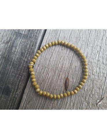 Bijoux Armband Kristallarmband Perlen khaki klein Glitzer Schimmer elastisch
