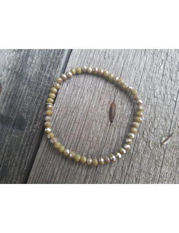 Bijoux Armband Kristallarmband Perlen khaki silber klein Glitzer Schimmer elastisch