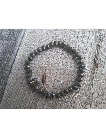 Bijoux Armband Kristallarmband Perlen dunkelkhaki schwarz groß Glitzer Schimmer elastisch