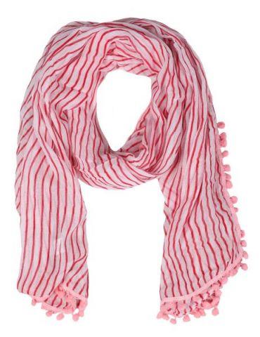Leichter XL Damen Schal Tuch weiß rot rose Streifen Bommeln