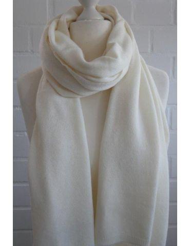ESViViD XXL Schal Stola Poncho creme off-white uni mit Kaschmir Made in Italy