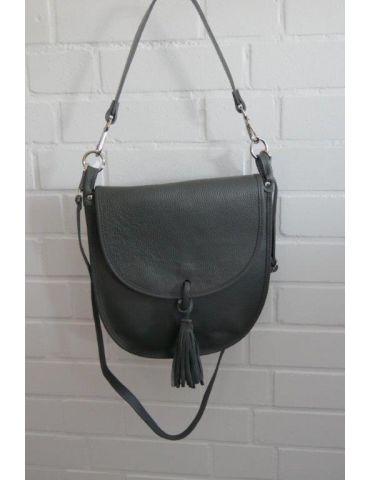 Damen Echt Leder Tasche Schultertasche anthrazit grau Made in Italy