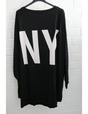 """XXXL Big Size T- Shirt langarm schwarz weiß """"NY"""" Baumwolle Onesize 38 - 50"""