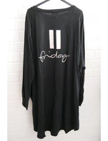 """XXXL Big Size T- Shirt langarm schwarz weiß """"Friday"""" Baumwolle Onesize 38 - 50"""