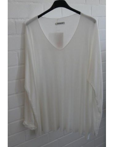 Damen Basic Shirt langarm creme uni mit Viskose Onesize ca. 38 - 46