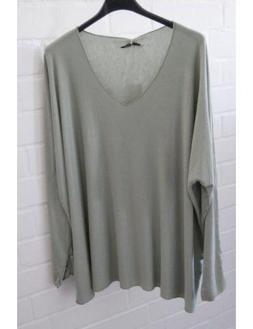 Damen Basic Shirt langarm lindgrün uni mit Viskose Onesize ca. 38 - 46