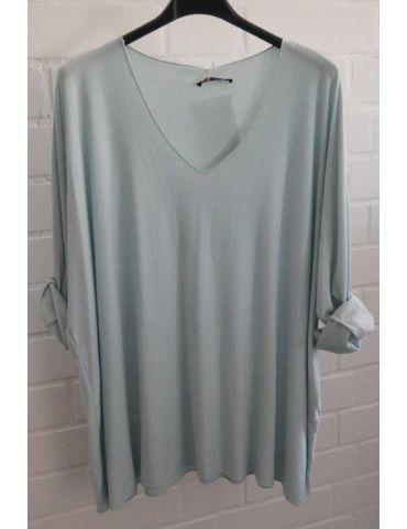 Damen Basic Shirt langarm hellblau blau uni mit Viskose Onesize ca. 38 - 46