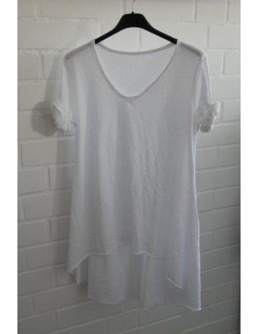 Damen Basic Shirt langarm V-Ausschnitt weiß white uni Baumwolle Onesize 38 - 42 Rollstoff