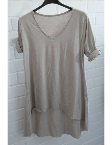 Damen Basic Shirt langarm V-Ausschnitt beige sand uni Baumwolle Onesize 38 - 42 Rollstoff