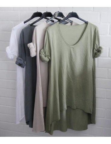 Damen Basic Shirt langarm V-Ausschnitt grau...