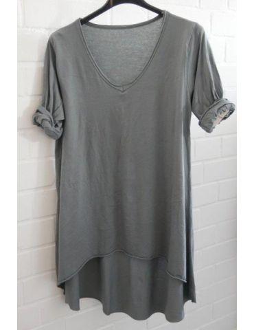 Damen Basic Shirt langarm V-Ausschnitt grau grey uni Baumwolle Onesize 38 - 42 Rollstoff