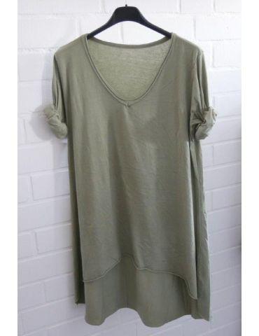 Damen Basic Shirt langarm V-Ausschnitt lindgrün uni Baumwolle Onesize 38 - 40 Rollstoff