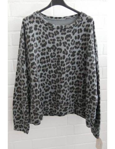 Damen Sweat Shirt langarm grau schwarz taupe Baumwolle Onesize 38 - 44